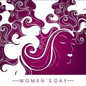 Happy Womens Day greeting card or poster design with illustration of a girl on floral decorated background.