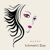 Happy Womens Day greeting card or poster design with illustration of a beautiful girl on brown background.