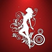 Happy Womens Day greeting card or poster design with white silhouette of a girl in dancing pose on red background.