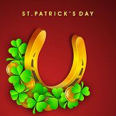 Happy St. Patrick's Day celebration poster, banner or flyer with golden horse shoe and clover on maroon background.