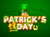 Happy St. Patrick's Day celebration poster, banner or flyer with stylish text, hat and golden coins on green background.