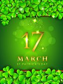 Happy St. Patrick's Day celebration poster, banner or flyer with golden text and clover leaves on green background.