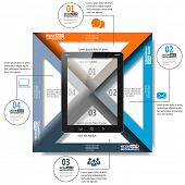 Trendy simple paper infographics with tablet pc for web, mobile applications, social networks etc. V