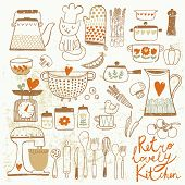 Vintage kitchen set in vector. Stylish design elements: pepper-box, fork, spoon, bowl, pan, mixer, s