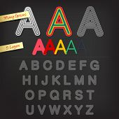Offset alphabet with five layers
