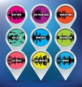 Map pins with New York, San Francisco, Vancouver, Puerto Rico, Montreal, Washington, Las Vegas, Los