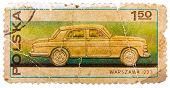 Stamp Printed In Poland Shows Passenger Car Warszawa 223