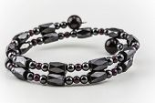 picture of hematite  - Wrap bracelet made of healing hematite stone and red beds - JPG