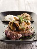 cep mushroom over grilled tenderloin and mustard sauce