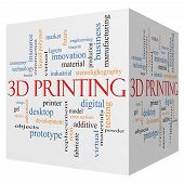 3D Printing 3D Cube Word Cloud Concept