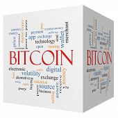 Bitcoin 3D Cube Word Cloud Concept