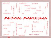 Medical Marijuana Word Cloud Concept On A Whiteboard