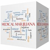 Medical Marijuana 3D Cube Word Cloud Concept