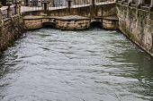 Tajo river, bridge.Ornamental fountains of the Palace of Aranjuez, Madrid, Spain