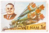 Stamp Printed In The Vietnam Shows Korolev Spacecraft Designer And Rocket