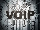 Web design concept: circuit board with VOIP