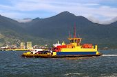Ferryboat crossing the ocean - Ilhabela - Brazil