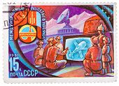 Stamp Printed In Ussr Shows Intercosmos Program - The People Of Mongolia Are Watching On Television