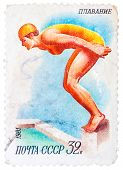 Stamp Printed In Ussr Shows Swimming, Diving, Female Athlete Jumps Into The Water, From Series Sport