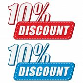10 Percentages Discount In Two Colors Labels, Flat Design