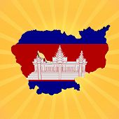 Cambodia map flag on sunburst illustration