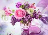 Beautiful spring flowers in vase