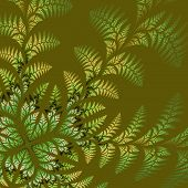 Fabulous Asymmetrical Pattern Of The Leaves In Green. Computer Generated Graphics.