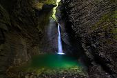 Kozjak Waterfall In The National Park Of Triglav, Julian Alps, Slovenia, Europe.
