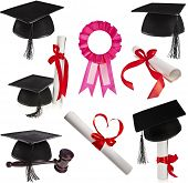 Collection set of Black Graduation Caps and diploma scroll Isolated on White Background