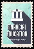 Financial Education on Light Blue in Flat Design.