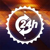 Service 24h Concept on Retro Triangle Background.