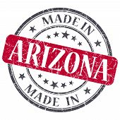 Made In Arizona Red Round Grunge Isolated Stamp