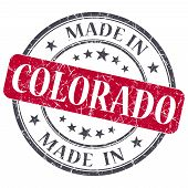 Made In Colorado Red Round Grunge Isolated Stamp
