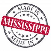 Made In Mississippi Red Round Grunge Isolated Stamp