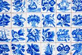 Traditional tiles (azulejos) from facade of old house in Lisbon, Portugal, Europe