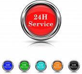 24H Service Icon - Six Colors Vector Set