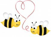 Two cute bees in love