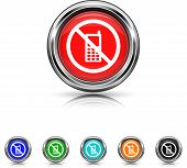 Mobile Phone Restricted Icon - Six Colors Vector Set