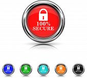 100 Percent Secure Icon - Six Colors Vector Set