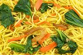 stock photo of noodles  - Long life noodle fried with kale carrots and vegan protein dry - JPG