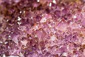 Pink Violet Geode Of Quartz Crystals Macro