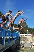 Bridge Jumping Into The Kaiteriteri Lagoon