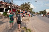 Tourists Walk On The Street In Ao Nang