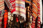 Moroccan Carpets in a street shop souk