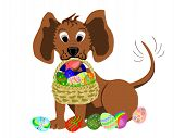 Dog With Basket Of Easter Eggs