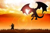stock photo of dragon  - Silhouette illustration of a knight fighting a dragon - JPG