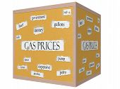 Gas Prices 3D Cube Corkboard Word Concept