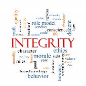 picture of conduction  - Integrity Word Cloud Concept with great terms such as virtue code conduct and more - JPG
