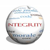 Integrity 3D Sphere Word Cloud Concept