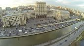 The main educational building of MGTU named by Bauman and Yauza river in Moscow, Russia, aerial view